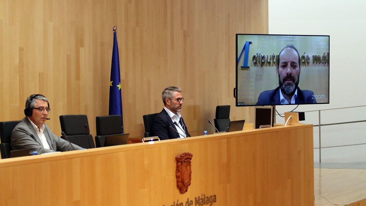 Salado y Maldonado, durante el último Pleno de la Diputación mientras intervenía telemáticamente Cassá.