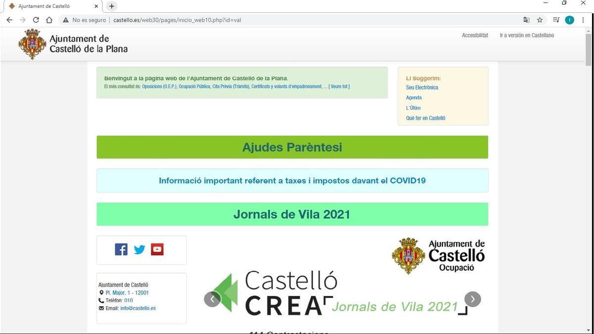 Imagen de la portada de la web del Ayuntamiento de Castelló, esta mañana.