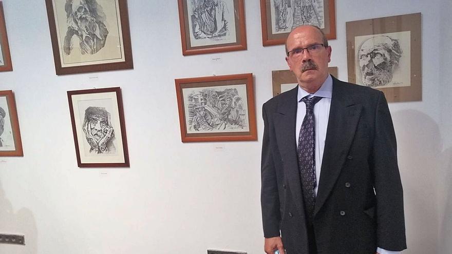 Dibujos de ángulos y personajes guienses en el arte de Eugenio Aguiar