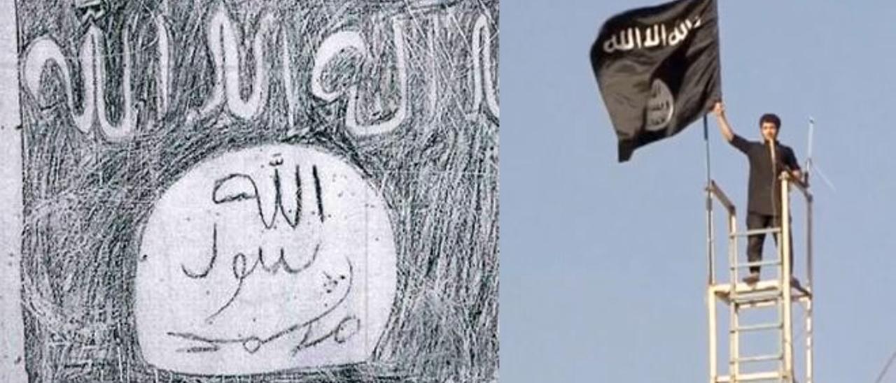 Pintada yihadista en una cárcel española. A la derecha, el modelo que trata de imitar, una bandera de Daesh ondeada en Siria.