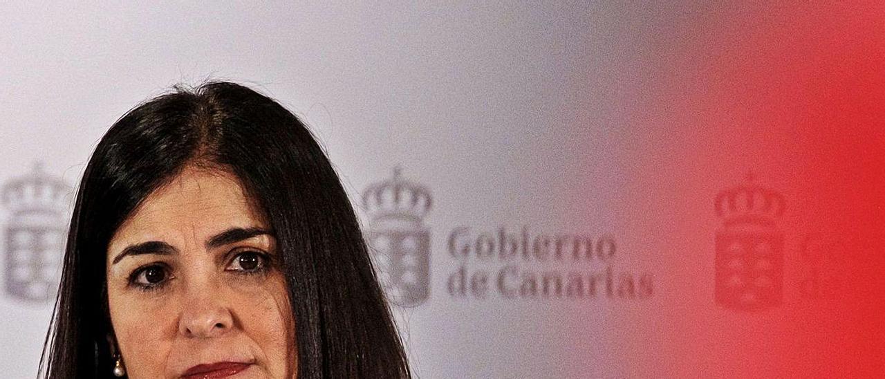 Carolina Darias en una rueda de prensa en su última visita oficial a Canarias el pasado día 13.