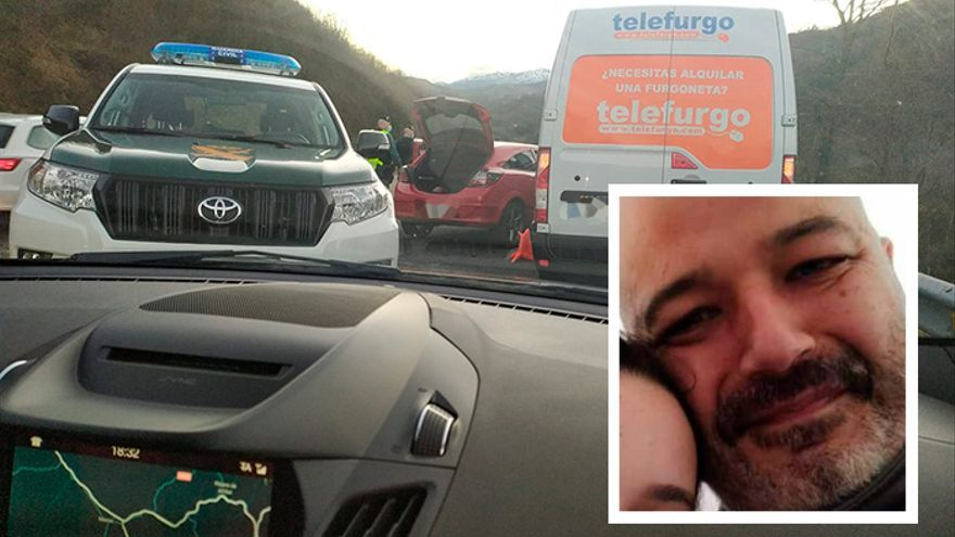 En el recuadro, el guardia civil fallecido en un control de tráfico en la Autovía Minera