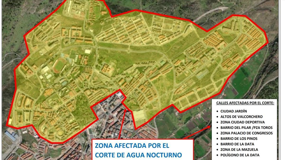 Plano de la zona afectada por el corte de agua.