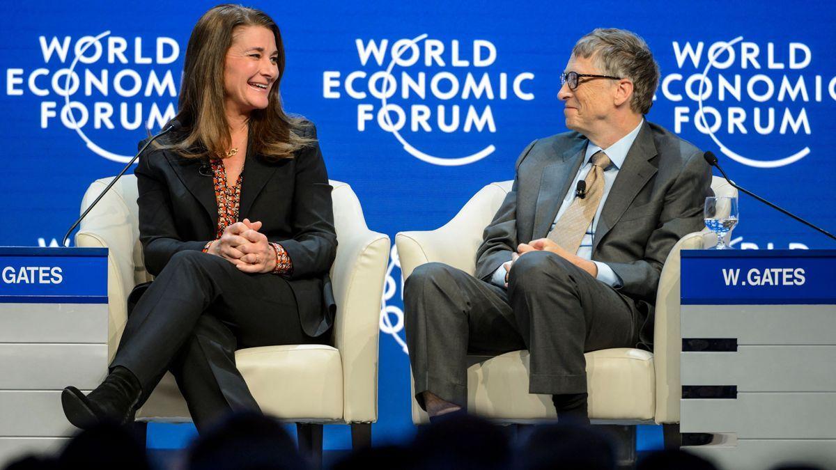 Melinda y Bill Gates, en Davos, en 2015.