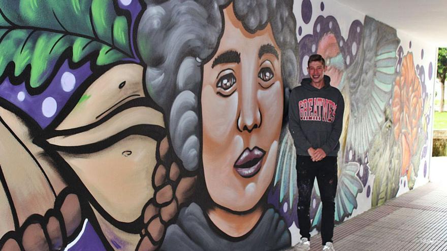 Gran mural homenaxe nun túnel