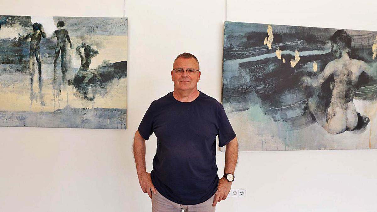 El artista José Manuel Menéndez Rojas, ayer, en el Club Diario de Ibiza.