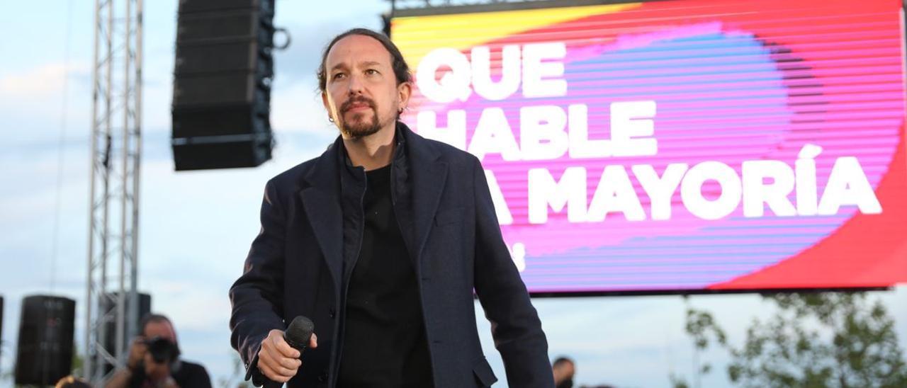 El exlíder de Unidas Podemos, Pablo Iglesias, en el cierre de campaña de las elecciones madrileñas.