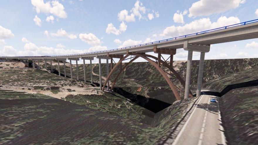 Un viaducto de 60 metros de altura culminará en diciembre la nueva N-232 en Morella