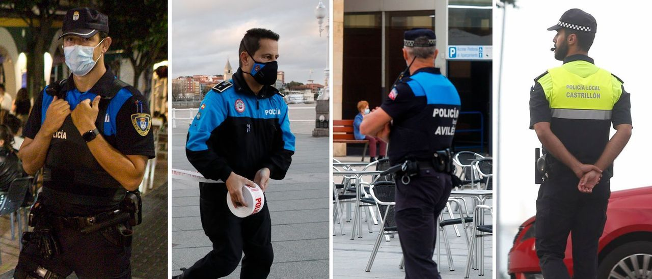 Uniformes actuales de la Policía Local en Oviedo, Gijón, Avilés y Castrillón.