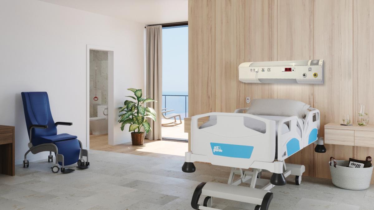 Infografía de una cama de hospital con un cabecero de Ibernex con la tecnología más innovadora para los pacientes.