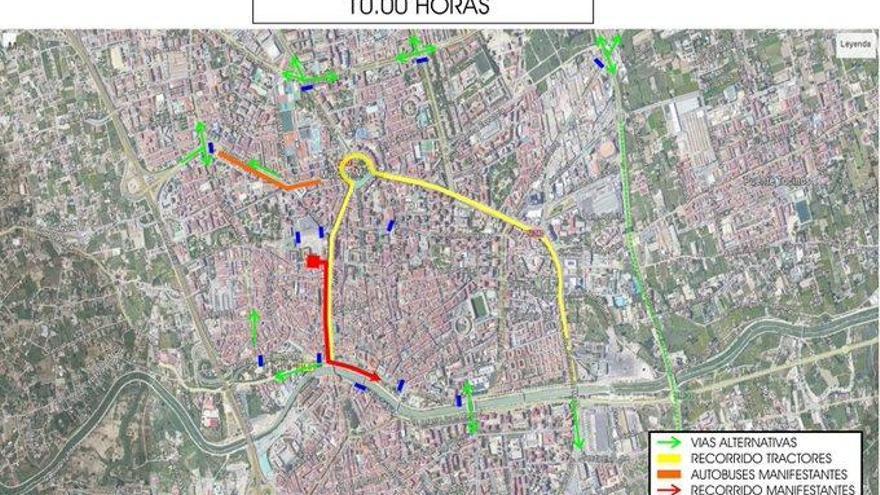 Así están las calles cortadas por la manifestación de agricultores en Murcia