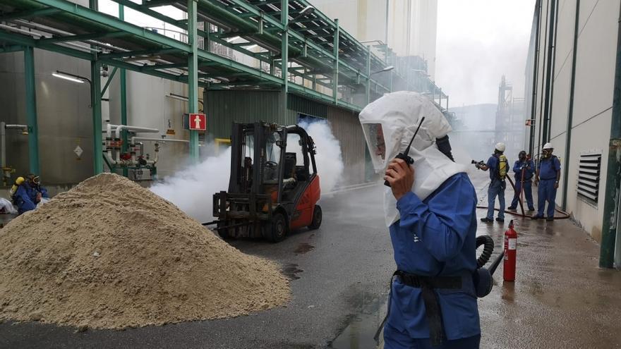 Sabiñánigo supera con éxito el simulacro de emergencia química