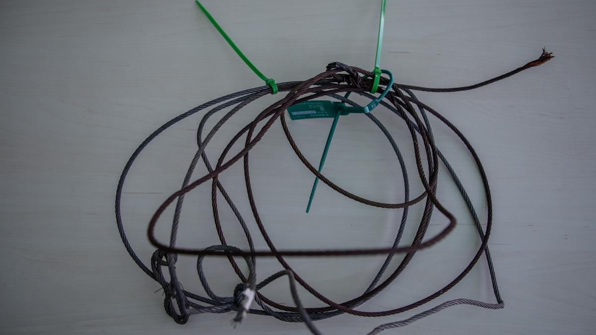 Los dos lazos metálicos hallados en un coto de caza en Sanabria.