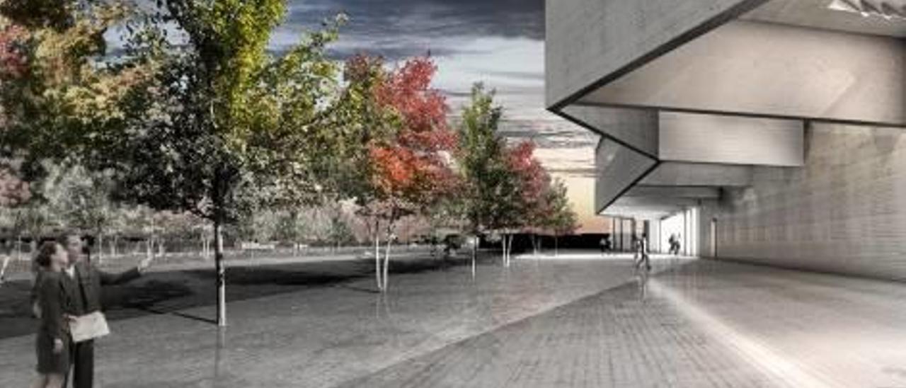 Recreación del nuevo edificio para empresas que acogerá el parque científico, diseñado por el arquitecto Vázquez Consuegra.