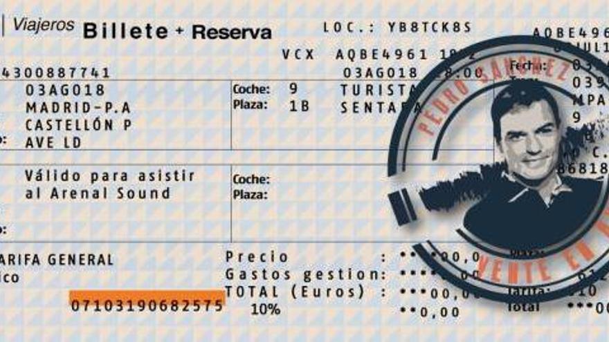 El PP envía un billete de AVE a Pedro Sánchez para que acuda al festival Arenal Sound