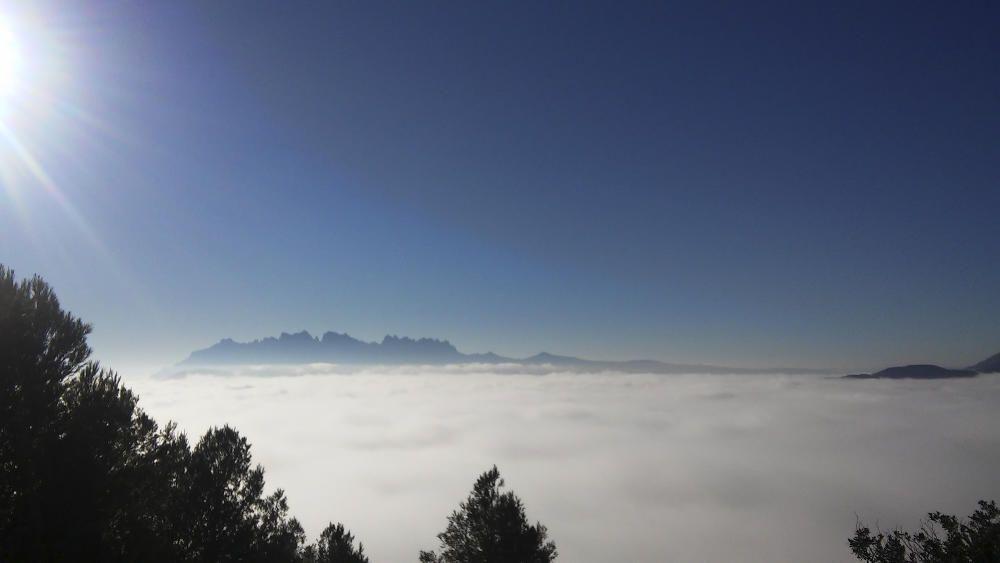 Collbaix. Després d'una pujadeta al Collbaix, un dels nostres lectors ens ha fet arribar aquesta imatge feta des de dalt de la muntanya, on es pot veure un llit suau i tendre de núvols, i el sol obrint pas al dia.