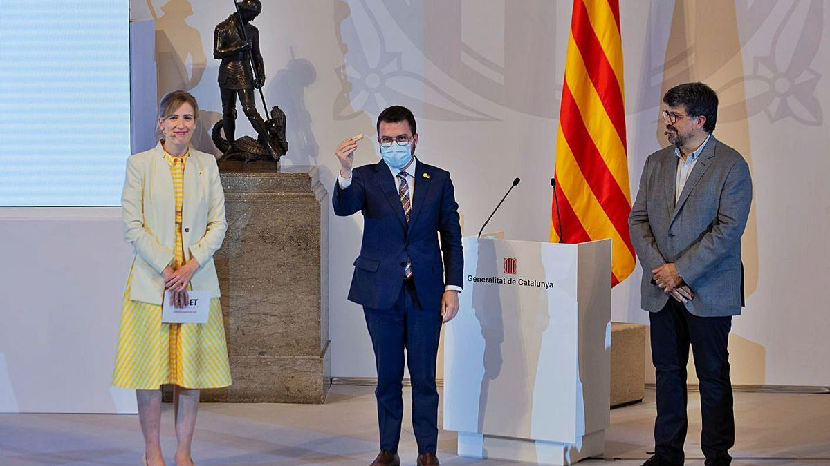 El president de la Generalitat, Pere Aragonès, durant la presentació de la proposta | ACN