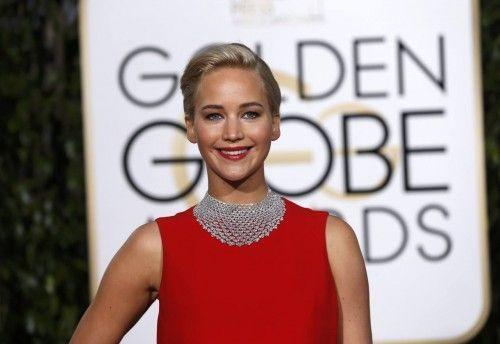 Jennifer Lawrence arrives at the 73rd Golden Globe Awards in Beverly Hills