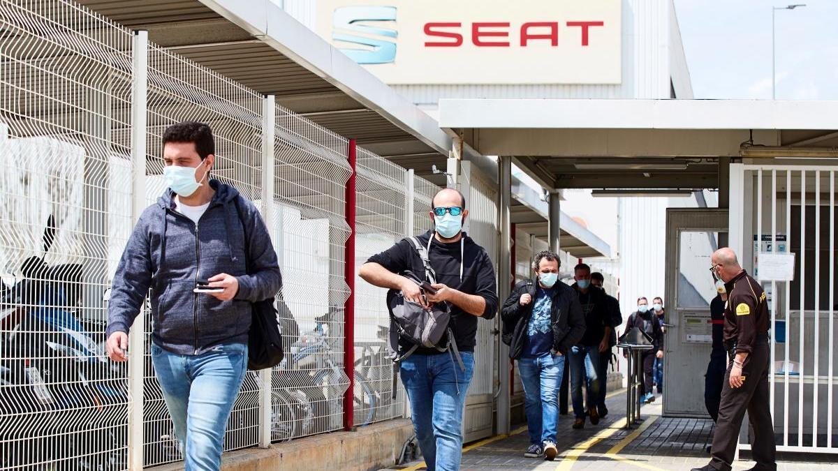 Trabajadores de Seat en Barcelona.