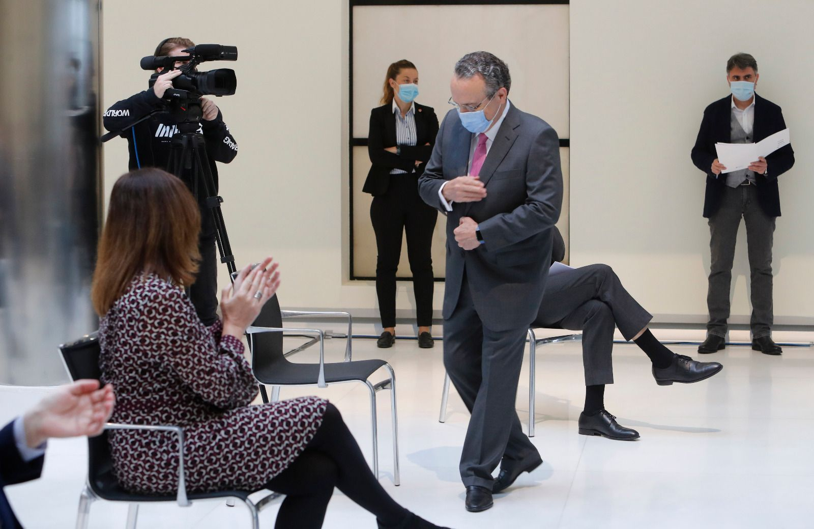 Las imágenes de la entrevista a Francina Armengol en Valencia