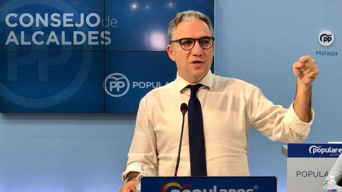 Elías Bendodo, durante el consejo de alcaldes del PP.