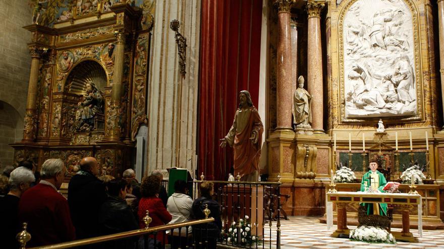 La imagen  de Jesús de Luz y Vida, expuesta al culto en San Atilano