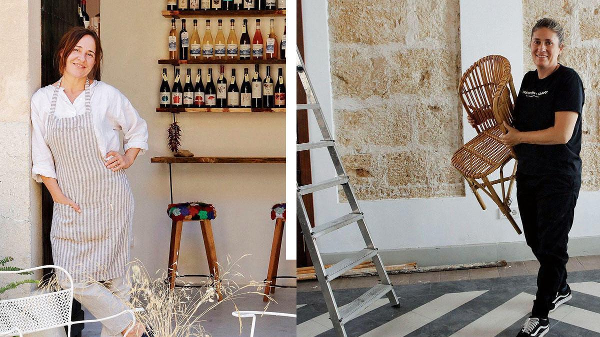 Naturweine, ein paar Gerichte und Kunsthandwerk: Maria Solivellas (li) vor ihrem Lokal. Kommt nach Palma: Maca de Castro bei der Umgestaltung von La Parada zum Andana.