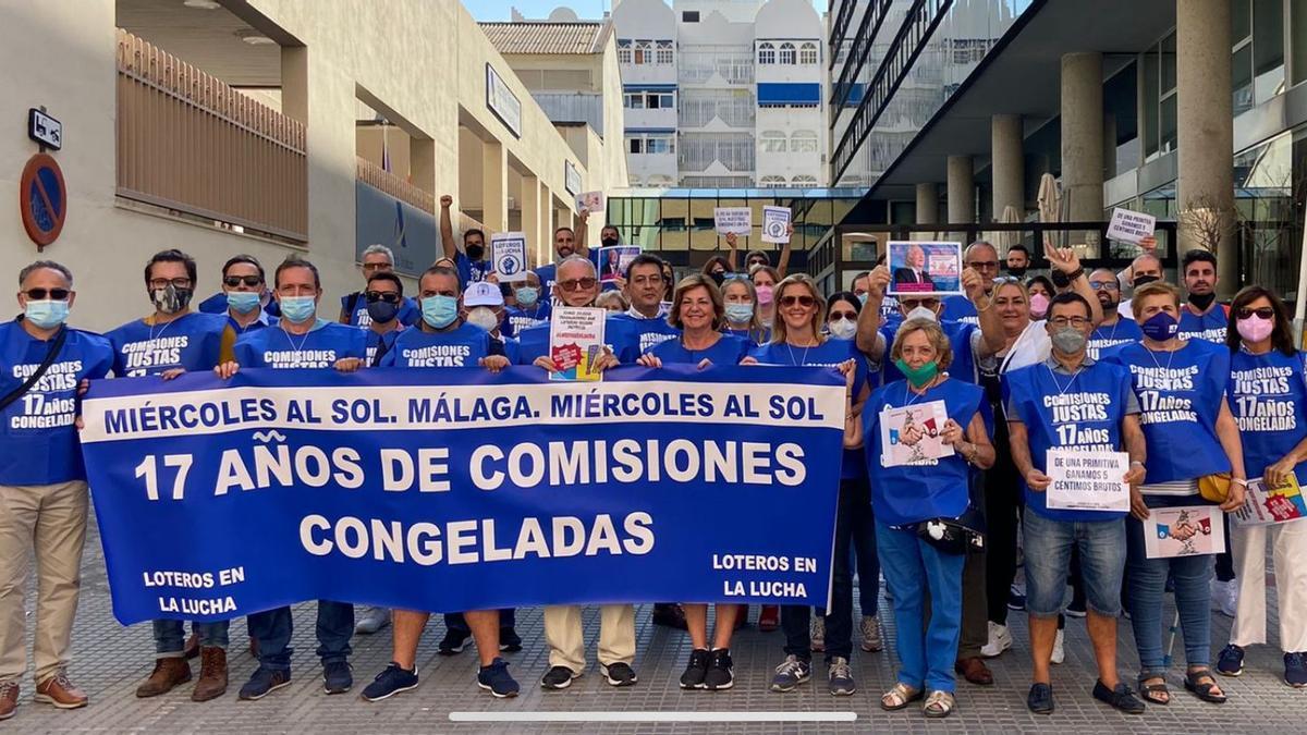 Protesta de loteros malagueños de este miércoles.