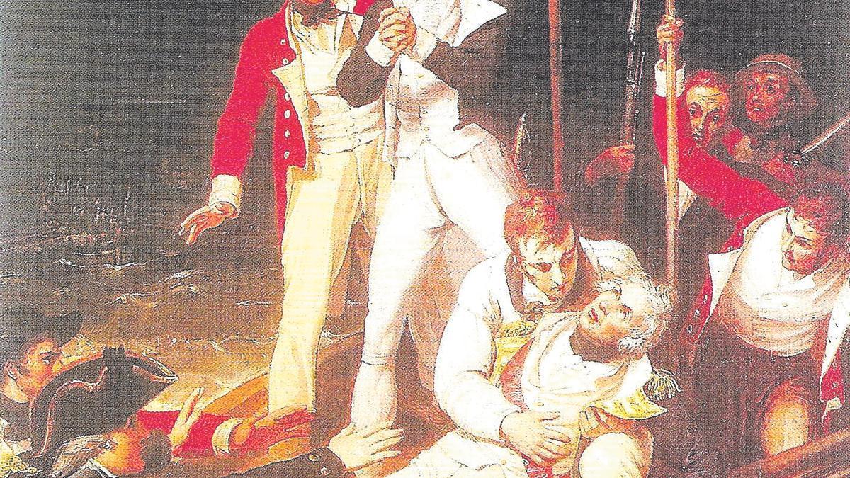 Cuadro que recrea el momento en que Nelson resulta herido en el ataque británico a Santa Cruz de 1797.