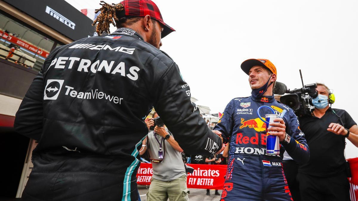 Lewis Hamilton y Max Verstappen.