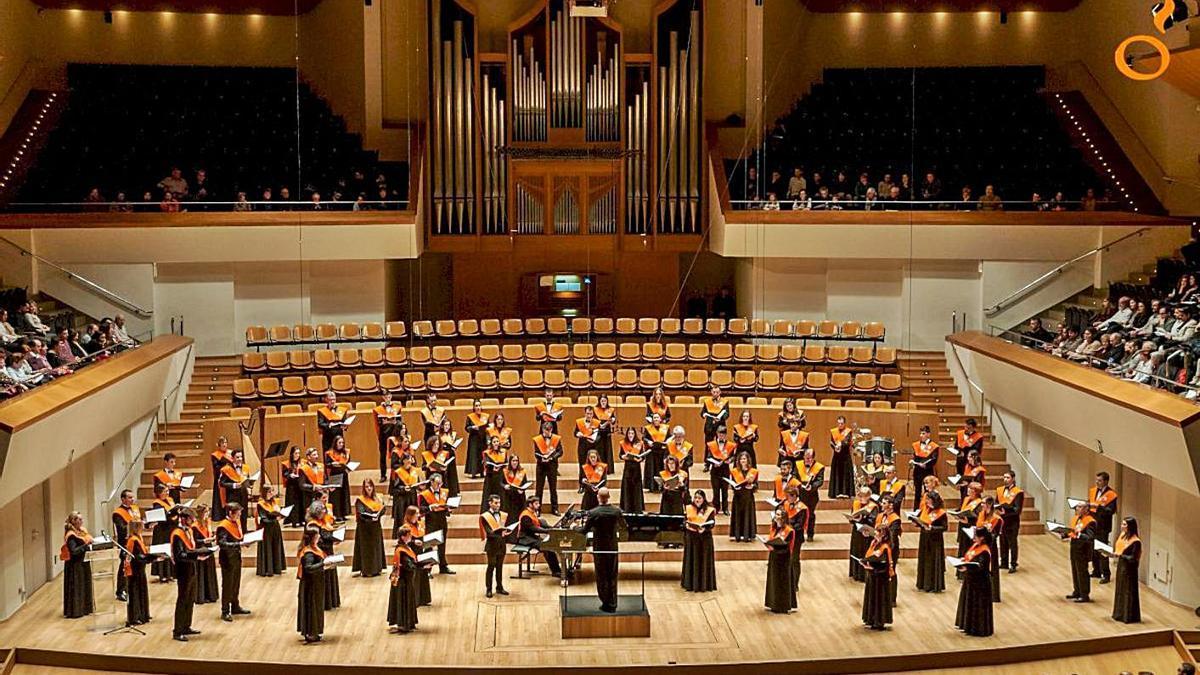 L'Orfeó Universitari al Palau de la Música en una foto d'arxiu. | LEVANTE-EMV