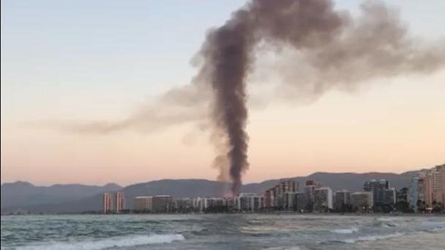 El incendio del palmeral de Cullera, visto desde la playa