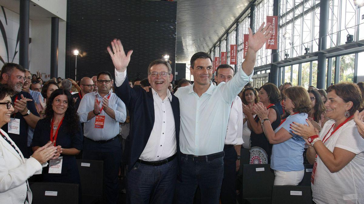 Puig y Sánchez, en el último congreso del PSPV, en 2017 en Elche