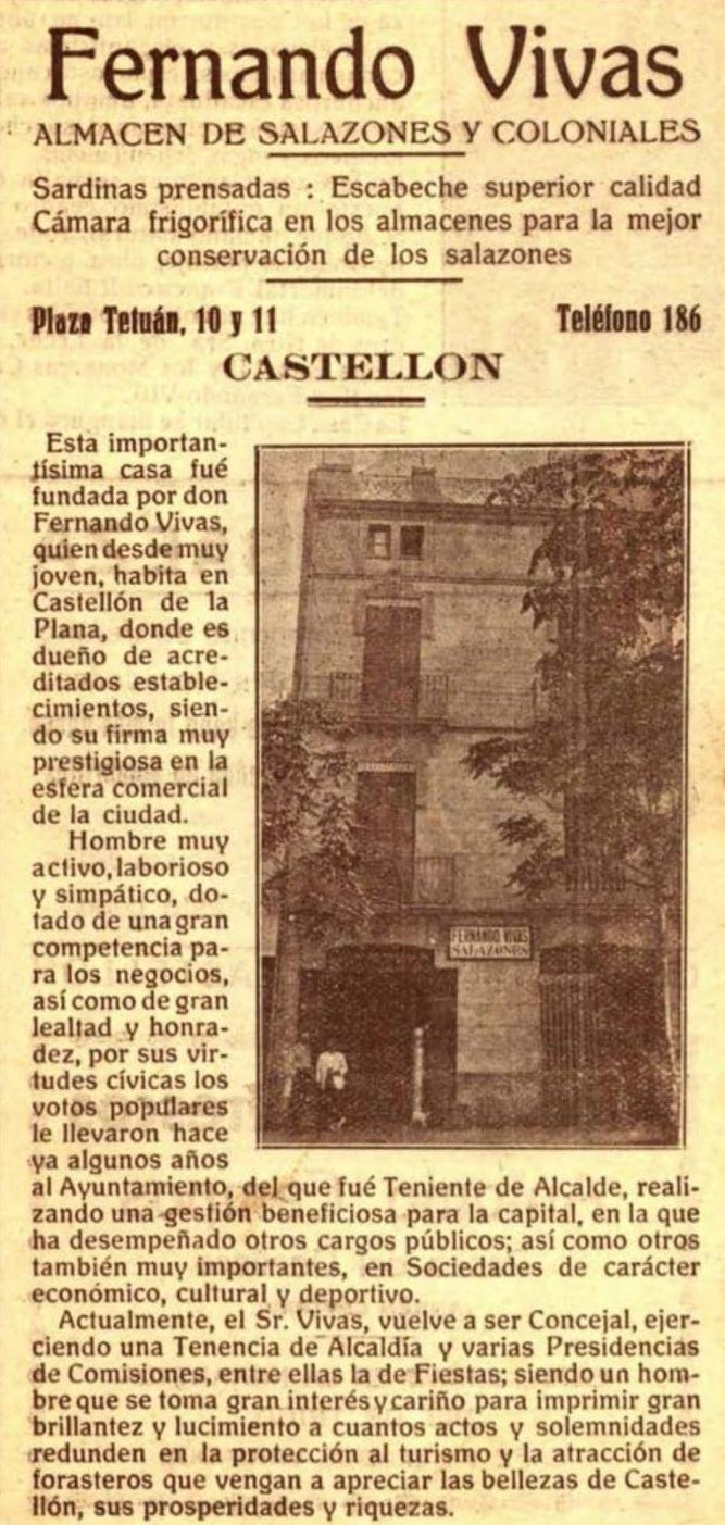 'Publirreportaje' de la época del almacén de salazones Fernando Vivas