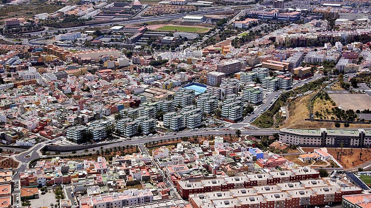 Una vista aérea de La Verdellada y sus azoteas, en las que se pretende instalar placas.