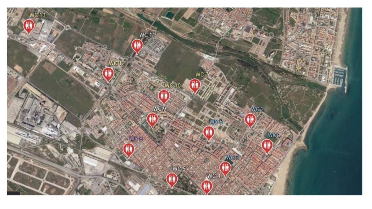 Plano con ubicaciones proppuestas por la asociación