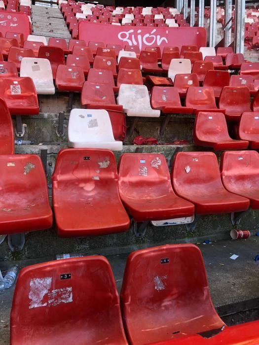 El Sporting denuncia destrozos de la afición del Oviedo en El Molinón.