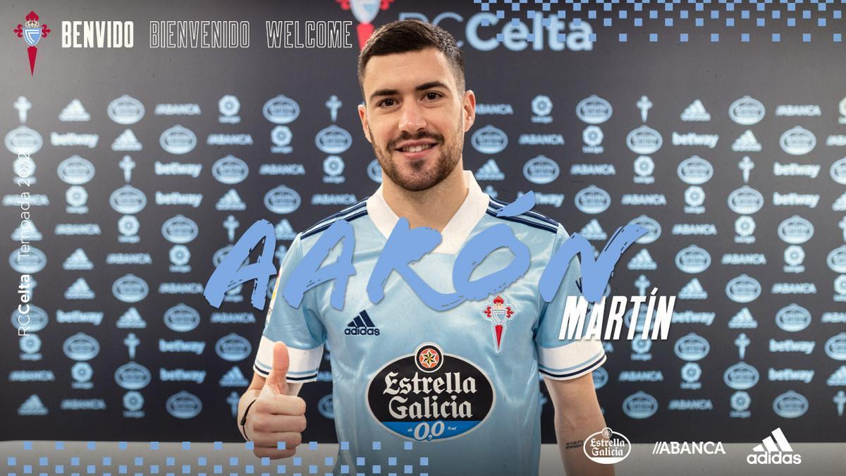 Aarón Martín, con la camiseta del Celta.