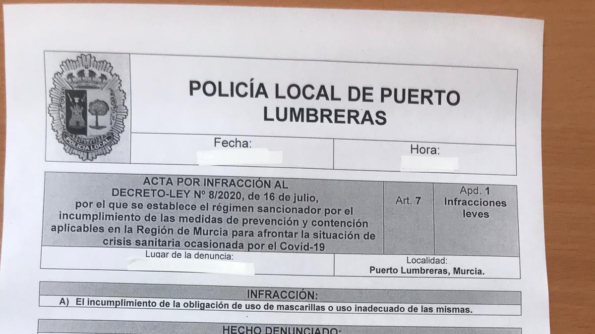 Diez denuncias en Puerto Lumbreras por no usar mascarilla