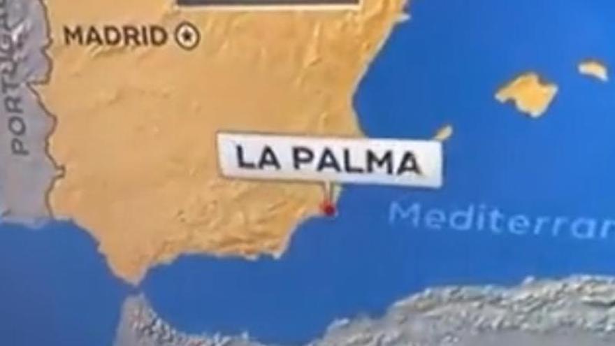 La cadena americana CBS sitúa el volcán de La Palma en Cartagena
