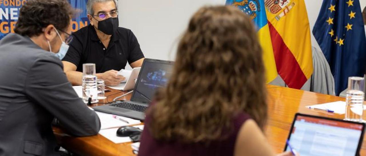 Román Rodríguez, al fondo durante el encuentro telemático que mantuvo ayer. | | QUIQUE CURBELO / EFE