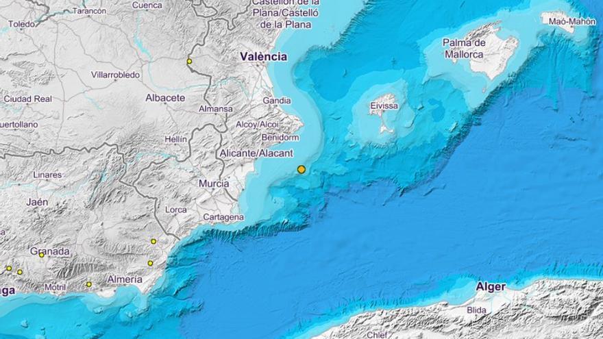 La costa de alicantina registra un seísmo de 2,5 de magnitud