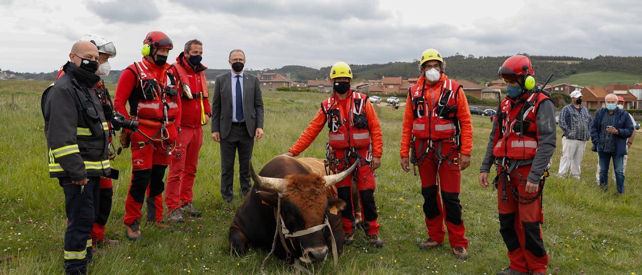 """Foto de familia de los rescatadores con el toro """"Bolero"""""""