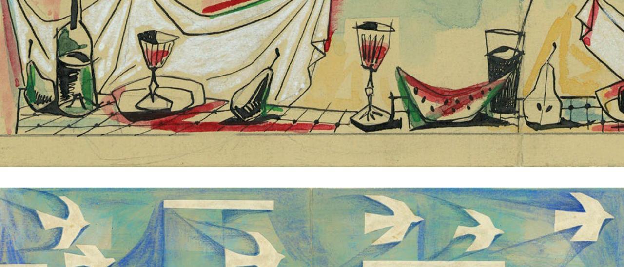 Cafetería Rívoli. Dibujos con diseños para murales interiores de Rubio Camín.