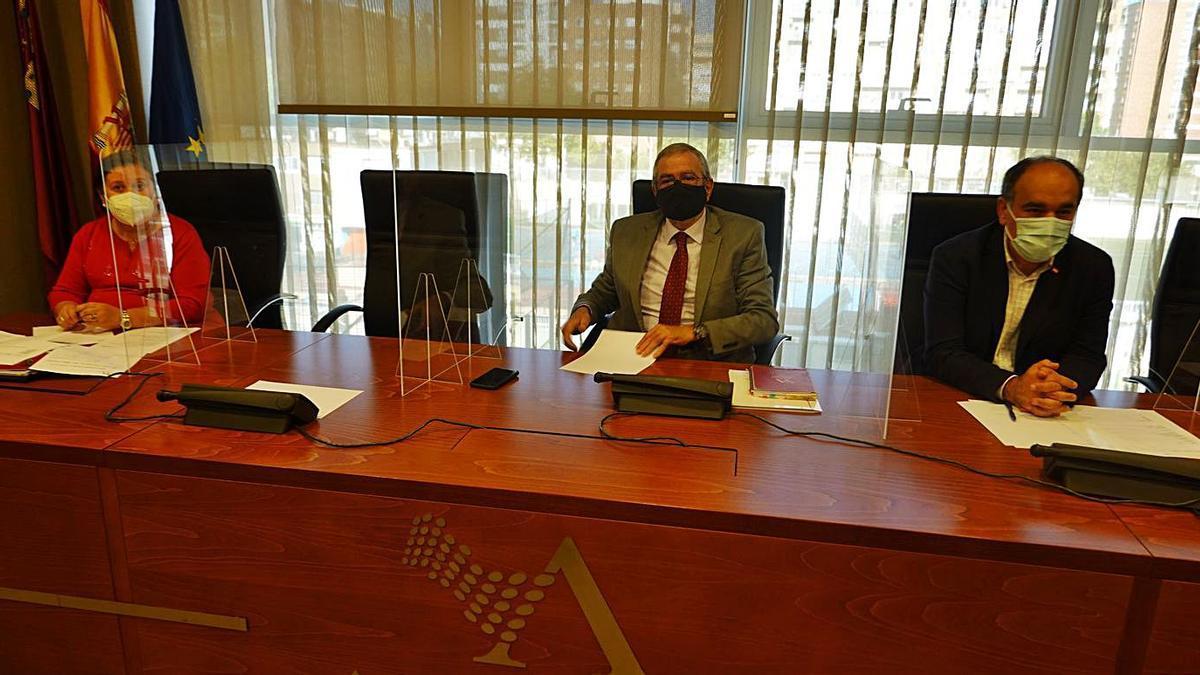 Alberto Castillo (centro) presidió ayer la Junta de Portavoces. | L. O.
