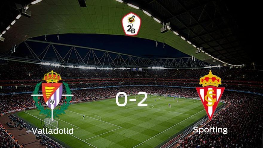 El Sporting B consigue los tres puntos después de ganar 0-2 al Valladolid B