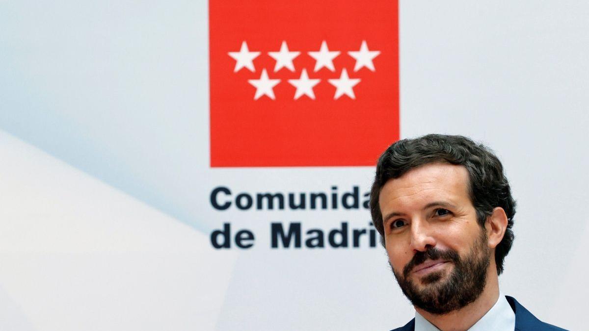 Pablo Casado, el pasado 19 de junio, en la celebración de la investidura de Isabel Díaz Ayuso.