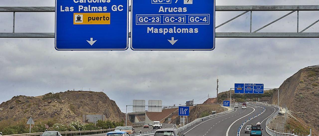 Enlace entre la autovía del Norte (GC-2) con la Circunvalación (GC-3), donde han sido multados los ciclistas. | | ANDRÉS CRUZ