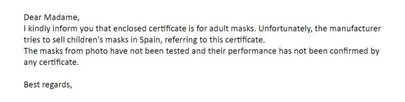 Respuesta de un organismo notificado sobre un certificado de adultos atribuido a una mascarilla infantil.