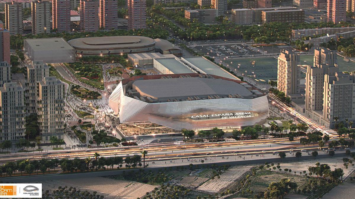 Exterior del futuro Casal España Arena de València.